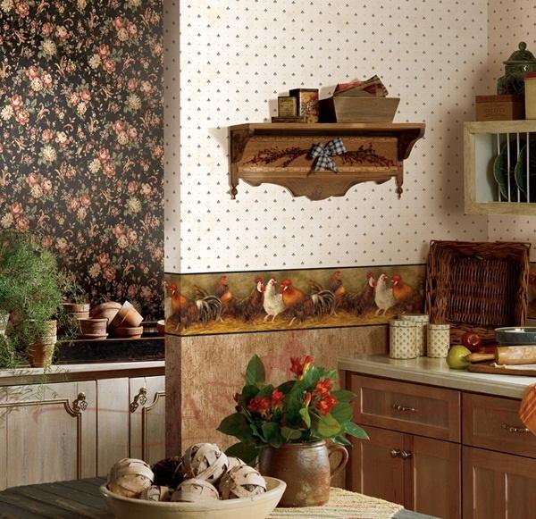 Сочетание обоев на кухне фото