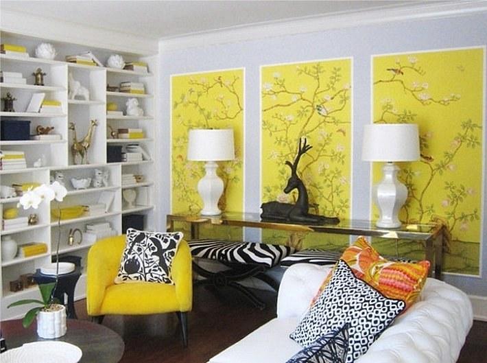 Лимонного цвета обои в интерьере
